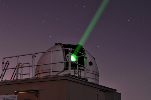 Laser ranging stations use short-pulse lasers and state-of-the-art optical receivers and timing electronics to measure the two-way time of flight (and hence distance) from ground stations to retroreflector arrays on Earth-orbiting satellites and the Moon.